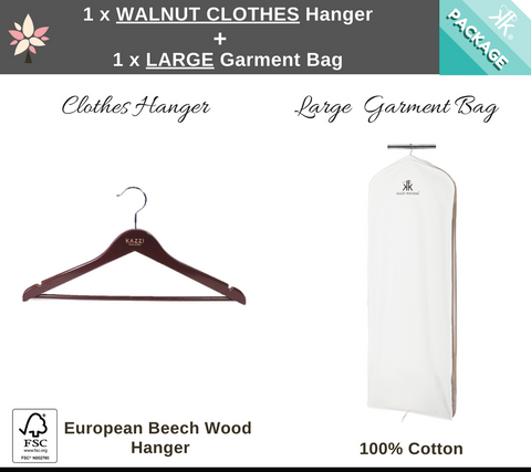 Walnut Clothes Hanger + Large Garment Bag