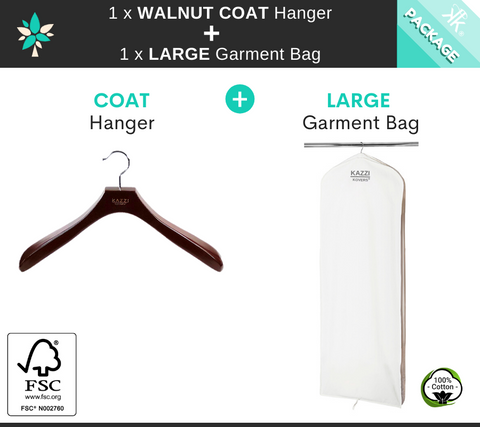 LARGE Garment Bag + Walnut COAT Hanger
