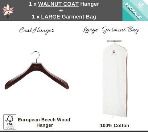 Large Garment Bag + Walnut Coat Hanger.
