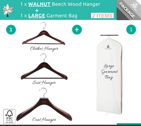 LARGE Garment Bag + WALNUT Wood Hanger Offer