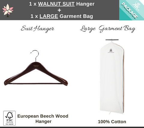 1 x Large Garment Bag + 1 x Walnut Suit Hanger Package