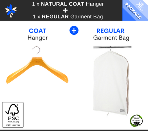 Kazzi Kovers REGULAR Garment Bag + NATURAL COAT Wood Hanger