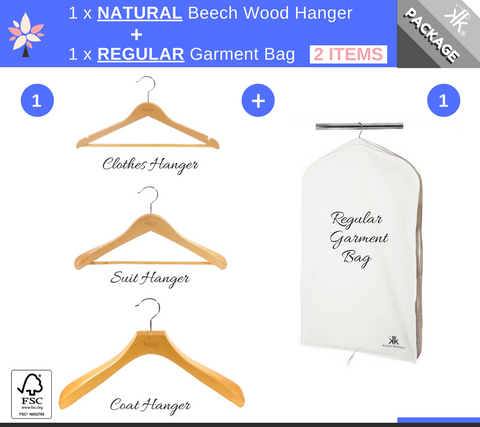 Kazzi Kovers REGULAR Garment Bag + NATURAL Wood Hanger