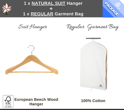 1 x Regular Garment Bag + 1 x Natural Suit Hanger Package