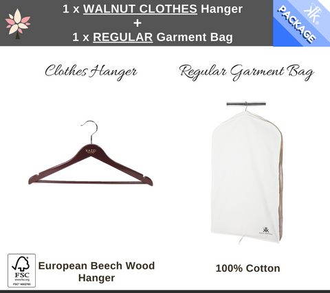 Walnut Clothes Hanger + Regular Garment Bag