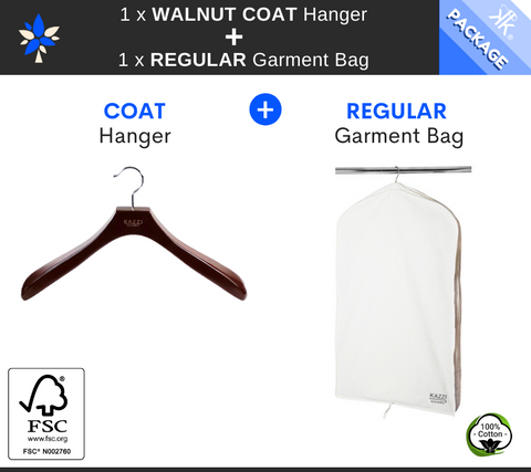 REGULAR Garment Bag + Walnut COAT Hanger