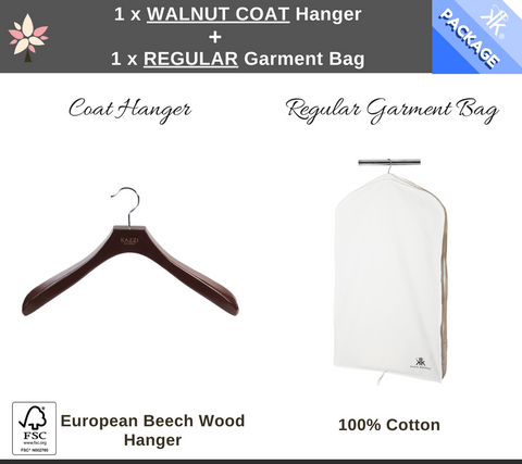 Regular Garment Bag + Natural Coat Hanger