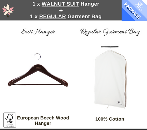 1 x Regular Garment Bag + 1 x Walnut Suit Hanger Package