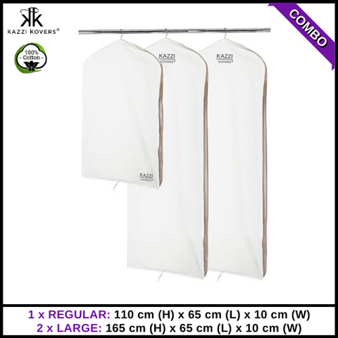 1 REGULAR x 2 LARGE Garment Bags | 100% Cotton