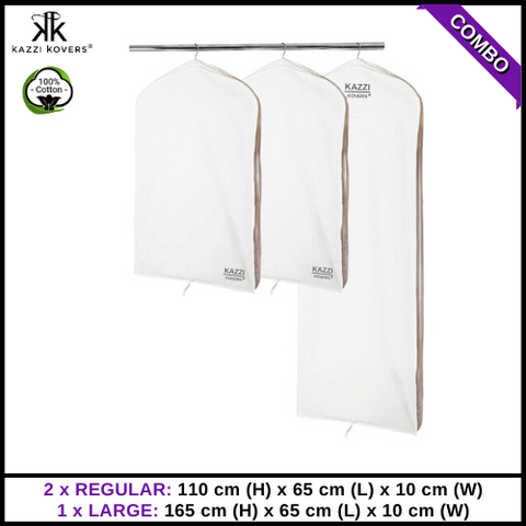 2 REGULAR x 1 LARGE Garment Bags | 100% Cotton