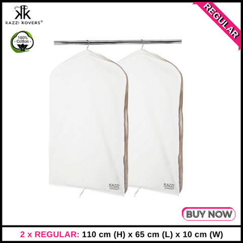 2 x REGULAR Garment Bags | 100% Cotton