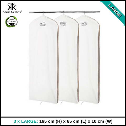3 x LARGE Garment Bags | 100% Cotton