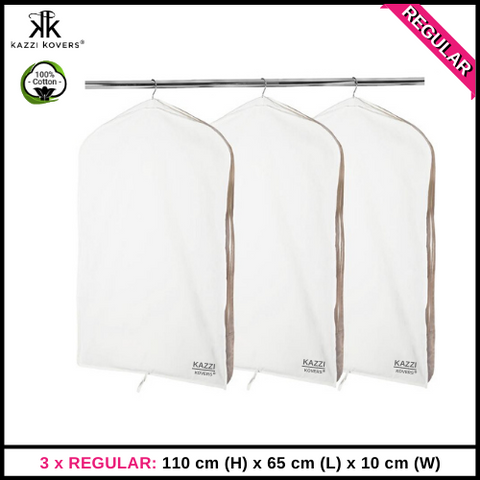 3 x REGULAR Garment Bags | 100% Cotton