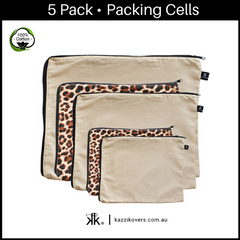 Latte Love + Leopard Print | 5 Pack Packing Cells | 100% Cotton