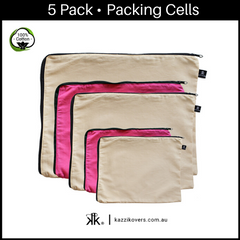 Latte Love + Fuchsia Pink | 5 Pack Packing Cells | 100% Cotton