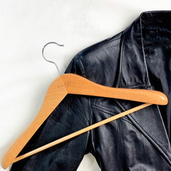 Kazzi Kovers natural wood hanger for leather jacket