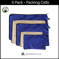 Midnight Blue & Latte Love | 5 Pack Packing Cells | 100% Cotton