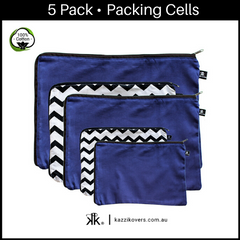 Midnight Blue & Chevron (Getting Ziggy) | 5 Pack Packing Cells | 100% Cotton