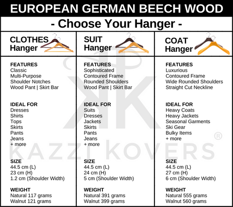 European German Beech Wood Hangers | Size Chart