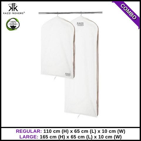 Kazzi Kovers Regular and Large Garment Bags | 100% Cotton