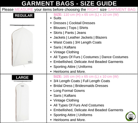 Garment Bags | Size Guide