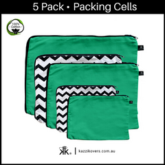 Green Envy & Chevron Print | 5 Pack Packing Cells | 100% Cotton