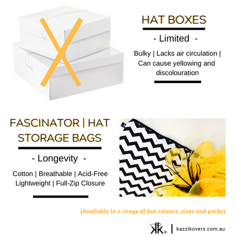 Hat box and fascinator storage bags