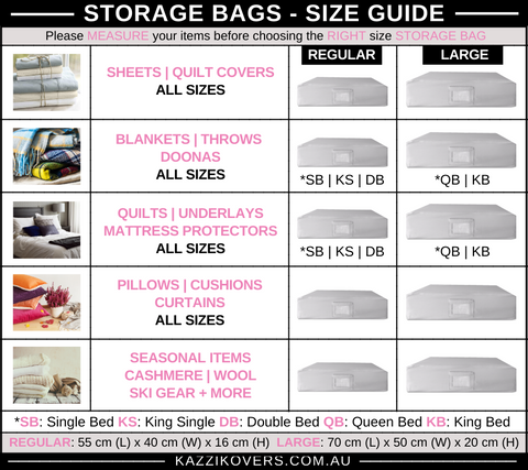 Kazzi Kovers Storage Bags | Size Guide