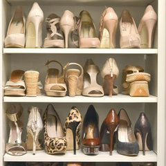 Organised heels on shelves