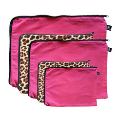 Hosiery bags in pink and leopard print