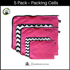 Chevron + Fuchsia Pink | 5 Pack Packing Cells | 100% Cotton