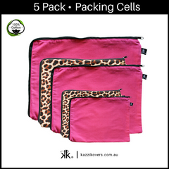 Fuchsia Pink + Leopard Print | 5 Pack Packing Cells | 100% Cotton