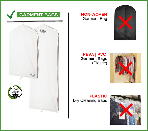 Different types of garment bags