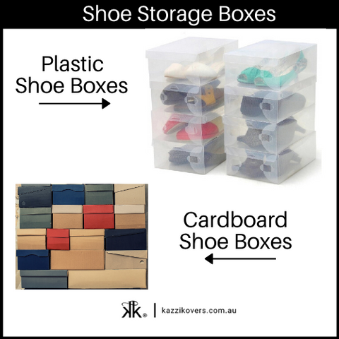 Plastic and Cardboard Shoe Storage Boxes