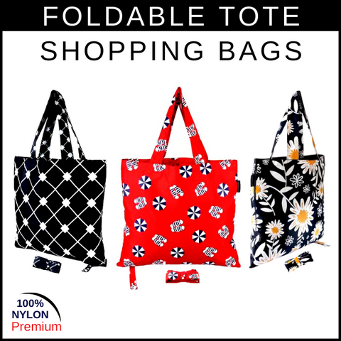 Reusable foldable shopping tote bags