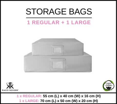 1 REGULAR + 1 LARGE | Cotton Storage Bags