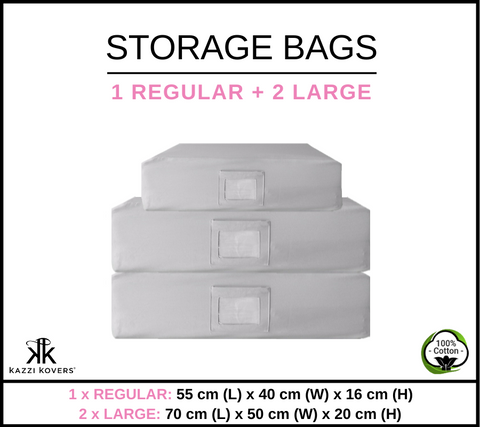 1 REGULAR + 2 LARGE | Cotton Storage Bags