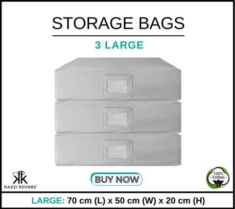 3 LARGE Cotton Storage Bags
