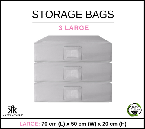 3 LARGE | Cotton Storage Bags