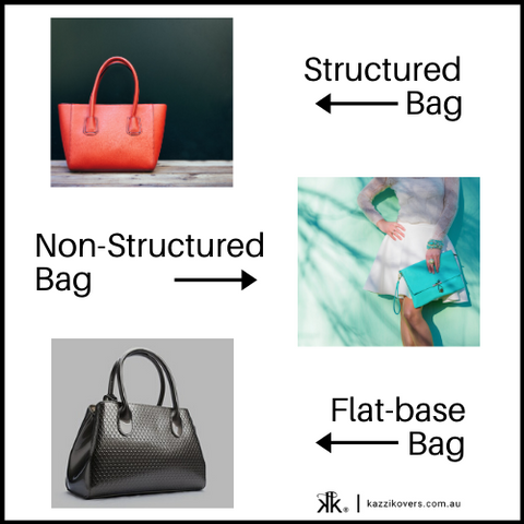 Structured and flat base handbags