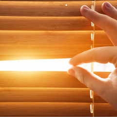 Sun rays through wooden blinds