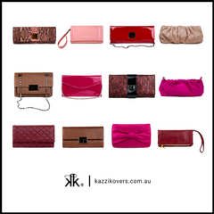 Red pink different size clutches