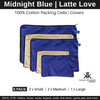 Navy and beige zippered cotton packing cells and covers