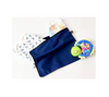 Baby items in blue cotton bag. Breathable. Acid-free. Hygienic.