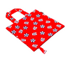 Bright red, white and blue beach print foldable bag for shopping and travelling