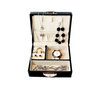 Black jewellery box for earrings, rings, necklaces, bracelets and watches
