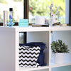 Blue and chevron handbag dust bags displayed on shelf
