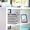 Chevron print handbag dust bags displayed on shelf