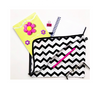 Pens, notepad and stationery in chevron print cotton bag.