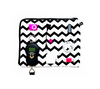 Double-sided zippered bag in chevron print for chargers and accessories